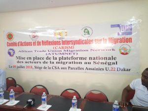MISE EN PLACE DE LA PLATEFORME NATIONALE DES ACTEURS DE LA MIGRATION AU SENEGAL