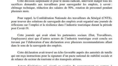 DECLARATION DE LA CNTS SUR LA SITUATION NATIONALE