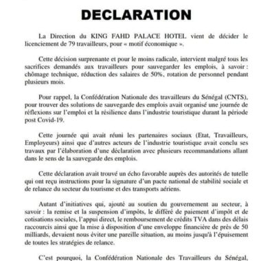 DECLARATION DE LA CNTS SUR LA SITUATION NATIONALE