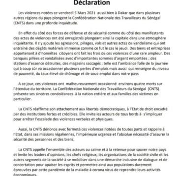 DECLARATION DE LA CNTS SUR LES EVENEMENTS DU 05 MARS