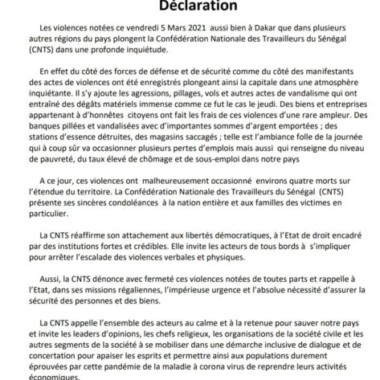 DECLARATION DE LA CNTS SUR LES EVENEMENTS DU 05 MARS